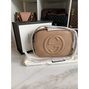 🌸✨GUCCl✨🌸GG Small Disco Beige Leather Crossbody Bag